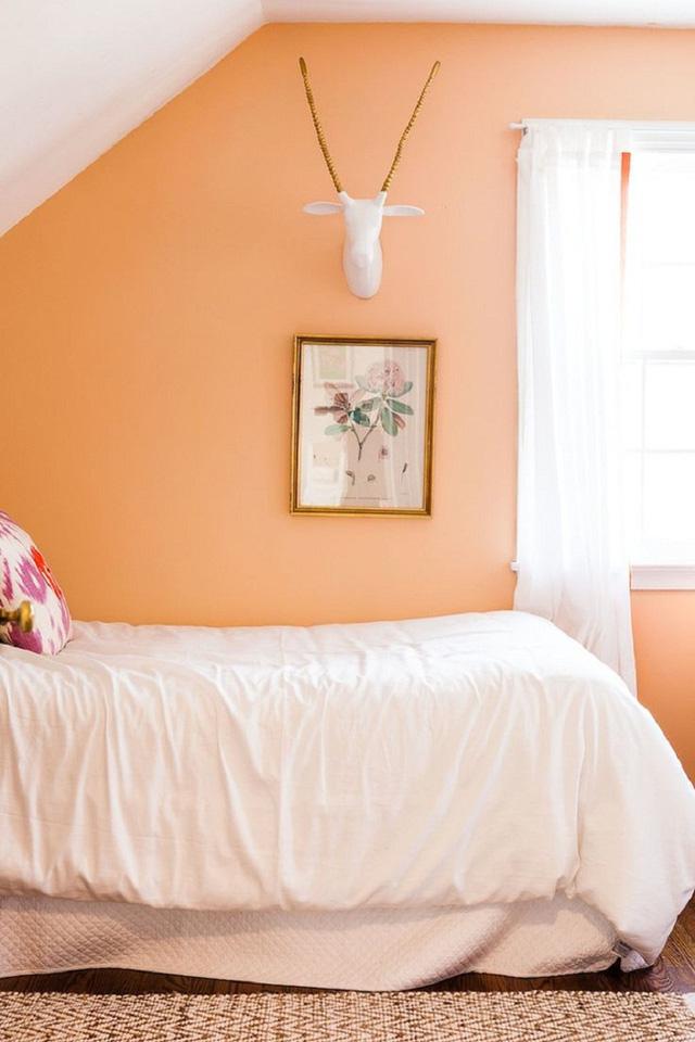 Vẻ tươi sáng của gam màu hồng đào cũng rất thích hợp cho những căn phòng diện tích nhỏ hẹp để tạo ảo giác không gian rộng hơn thực tế.